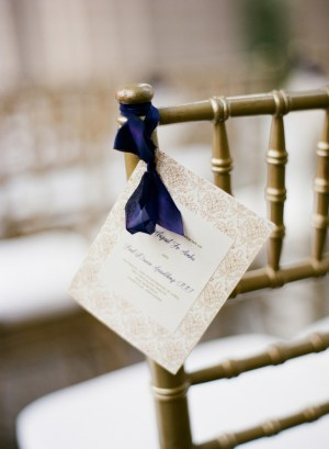 Cream and Taupe Ceremony Programs With Navy Ribbon Buchanan Ink Kate Murphy Photography 300x409 Wedding Stationery Inspiration: Navy