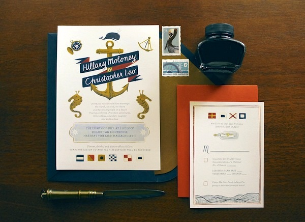 Nautical Wedding Invitation Quill and Fox Hillary + Chriss Illustrated Nautical Wedding Invitations
