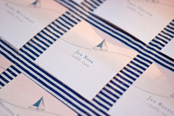 Navy and White Nautical Escort Cards Papermade Design Troy and Aimee Grover 600x399 Wedding Stationery Inspiration: Navy