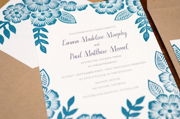Blue Floral Block Printed Wedding Invitations Katharine Watson3 Emma + Pauls Floral Block Printed Wedding Invitations