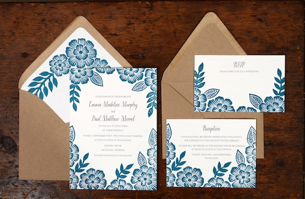Blue Floral Block Printed Wedding Invitations Katharine Watson5 Emma + Pauls Floral Block Printed Wedding Invitations