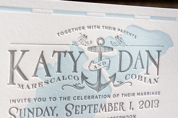 Lakeside Wisconsin Letterpress Wedding Invitations Lucky Luxe2 Katy + Dans Lakeside Wisconsin Wedding Invitations