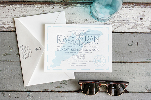 Lakeside Wisconsin Letterpress Wedding Invitations Lucky Luxe3 Katy + Dans Lakeside Wisconsin Wedding Invitations