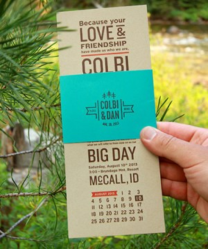 Rustic Mountain Wedding Invitations Kate Holgate6 300x359 Colbi + Dans Rustic Idaho Mountain Wedding Invitations