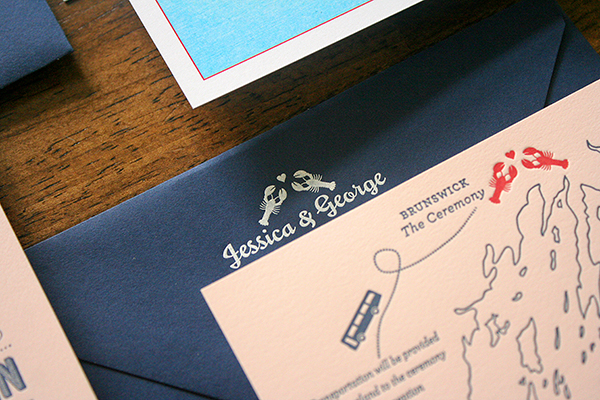 Travel Inspired Maine Wedding Invitations Parrott Design Studio4 Jessica + Georges Travel Inspired Maine Wedding Invitations