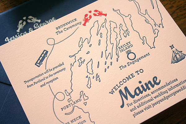 Travel Inspired Maine Wedding Invitations Parrott Design Studio5 Jessica + Georges Travel Inspired Maine Wedding Invitations