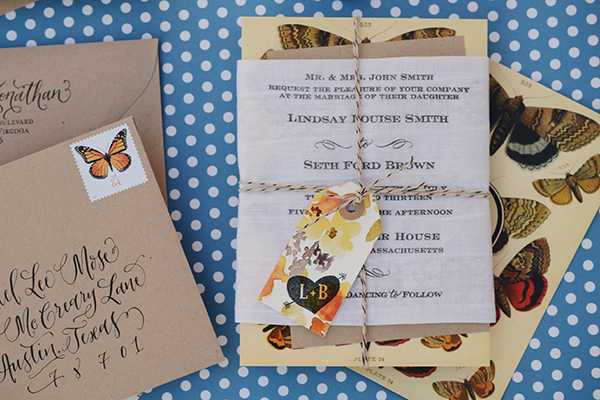 ButterflyHandkerchief Final 2 DIY Tutorial: Rubber Stamp Butterfly Handkerchief Wedding Invitations