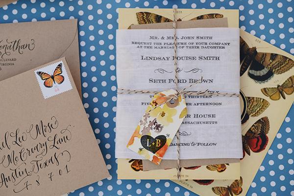 ButterflyHandkerchief Final 2 DIY Tutorial: Rubber Stamp Butterfly Handkerchief Wedding Invitations