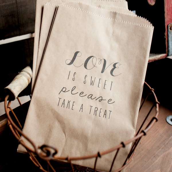 Custom Printed Kraft Wedding treat Bags In or Out Media 600x600 Wedding Stationery Inspiration: Treat Bags