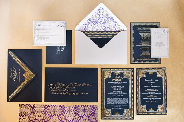Elaborate Middle Eastern Invitations Aubri Duran Ben Peacock Photography 600x398 Dramatic Middle Eastern Scriptorium Soirée Invitations