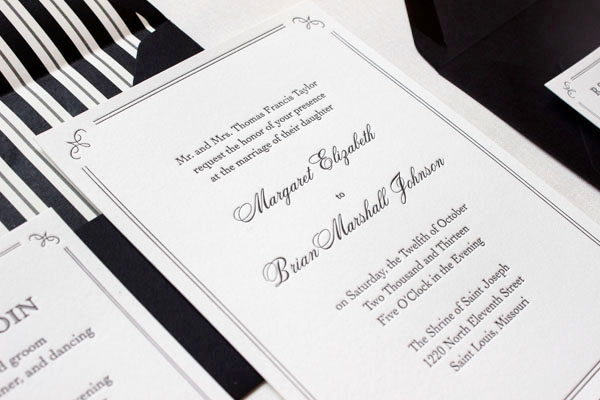 Elegant Formal Black White Letterpress Wedding Invitations2 Margaret + Brians Elegant Formal Wedding Invitations