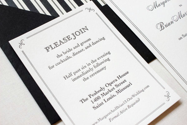 Elegant Formal Black White Letterpress Wedding Invitations4 Margaret + Brians Elegant Formal Wedding Invitations