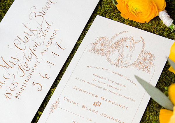Kentucky Derby Wedding Invitations and Calligraphy Kara Anne Paper and Lettering21 Equestrian Wedding Invitation + Calligraphy Inspiration