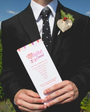Neon Ceremony Programs Pitbulls and Posies Mr Haack 300x375 Wedding Stationery Inspiration: Neon