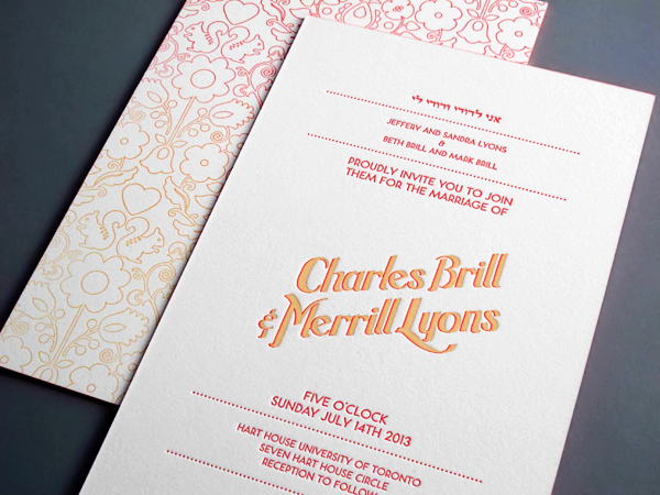 Charles + Merrills Ombre Letterpress Wedding Invitations