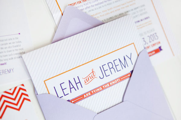 Orange Purple Chevron Stripe Wedding Invitations Ten Four Paper4 Leah + Jeremys Modern Chevron Stripe Wedding Invitations