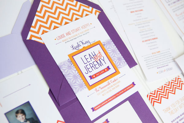 Orange Purple Chevron Stripe Wedding Invitations Ten Four Paper6 Leah + Jeremys Modern Chevron Stripe Wedding Invitations