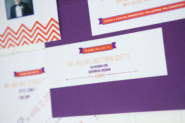 Orange Purple Chevron Stripe Wedding Invitations Ten Four Paper7 Leah + Jeremys Modern Chevron Stripe Wedding Invitations