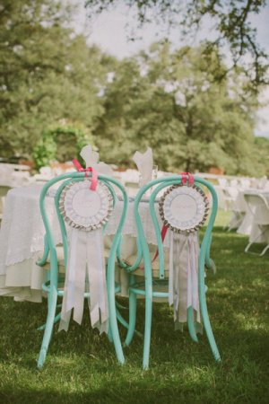 Award Ribbon Wedding Chair Decor Kris Holland Photography 300x450 Wedding Stationery Inspiration: Award Ribbons