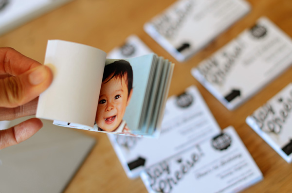 Flipbook First Birthday Party Invitations Good on Paper Theos Mini Flip Book First Birthday Party Invitations