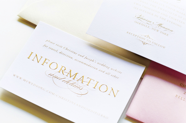 Glam Gold Engraved Pink Letterpress Wedding Invitations Sincerely Jackie3 Christine + Josephs Classic Pink and Gold Engraved Wedding Invitations