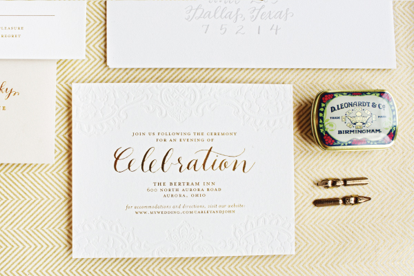 Gold Foil Calligraphy Wedding Invitations Lauren Chism Fine Papers7 Carley + Johns Gold Foil and Calligraphy Wedding Invitations