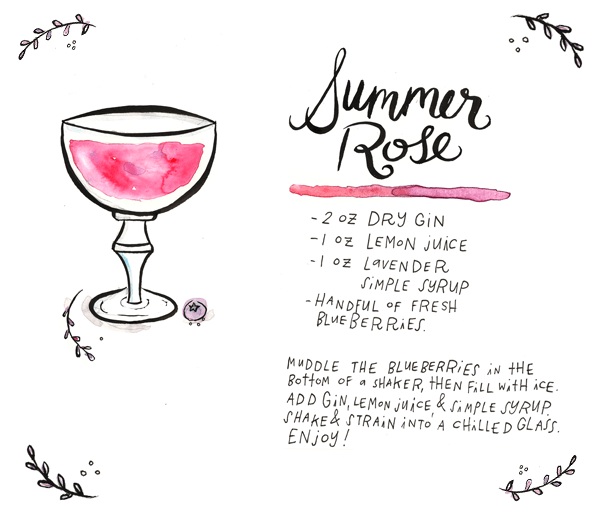 OSBP Summer Rose Cocktail Tuesday Bassen Illustration Friday Happy Hour: The Summer Rose