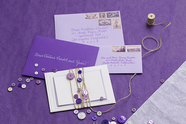 Purple Ombre Letterpress Wedding Invitations Cristina Pandol Jessica + Scotts Purple Ombre Letterpress Wedding Invitations