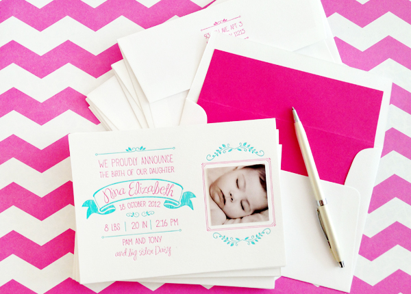 Hot Pink Aqua Letterpress Birth Announcements Noteworthy Paper and Press Ninas Colorful Hot Pink + Turquoise Birth Announcements