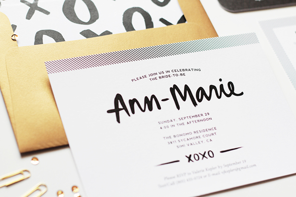 Modern Hand Lettered Bridal Shower Invitations JayAdores Design Co3 Ann Maries Modern Hand Lettered Bridal Shower Invitations