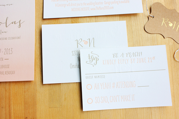 Peach Gray Ombre Wedding Invitations Inclosed Studio4 Rachel + Nicks Ombre Letterpress Wedding Invitations