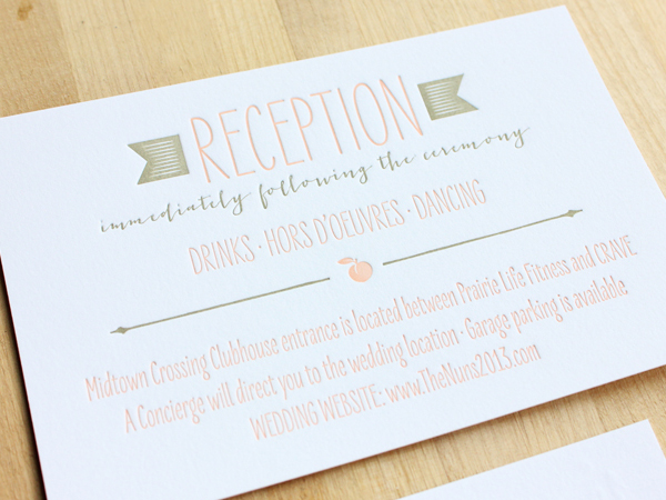 Peach Gray Ombre Wedding Invitations Inclosed Studio5 Rachel + Nicks Ombre Letterpress Wedding Invitations
