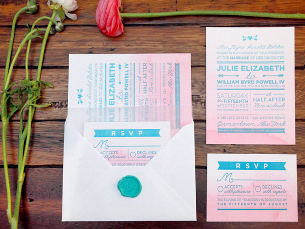 Pink Aqua Ombre Wedding Invitations And Here We Are Julie + Bos Hand Painted Wedding Invitations