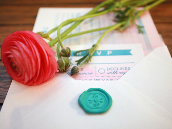 Pink Aqua Ombre Wedding Invitations And Here We Are3 Julie + Bos Hand Painted Wedding Invitations