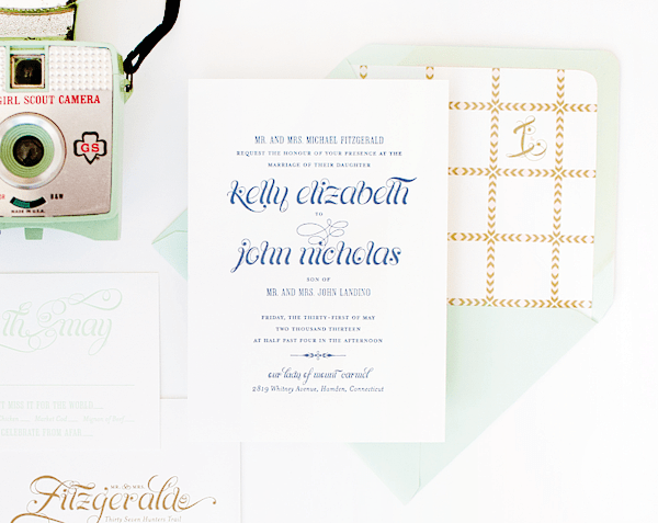 Pink Mint Wedding Invitations Coral Pheasant5 Kelly + Johns Pink, Mint, and Gold Wedding Invitations
