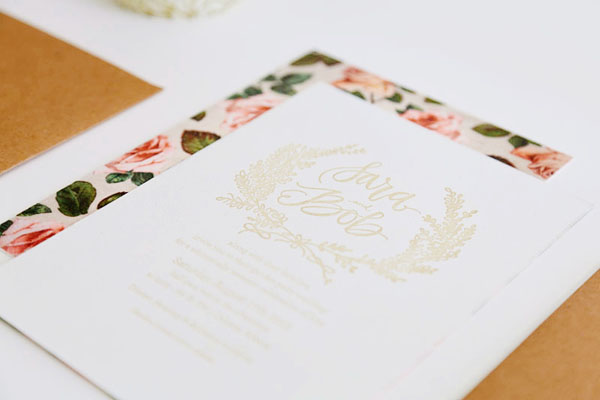 Floral Calligraphy Romantic Wedding Invitations AllieRuth Design4 Sara + Bobs Romantic Floral Wedding Invitations