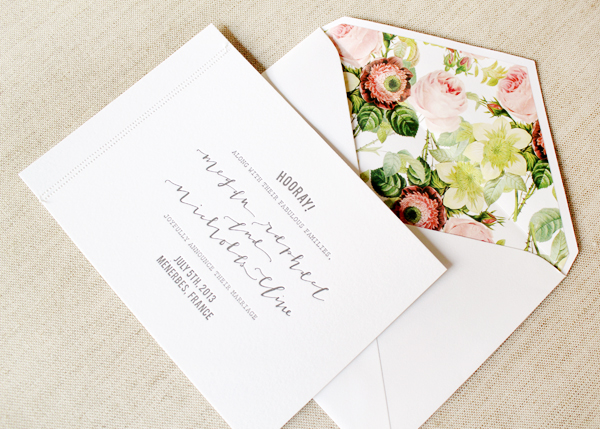 Calligraphy Floral Wedding Invitations LaHappy Megan + Nicks Calligraphy and Floral Wedding Announcements