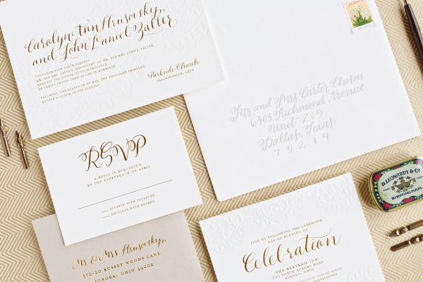 Gold Foil Calligraphy Wedding Invitations Lauren Chism Fine Papers Best of 2013: Wedding Invitations