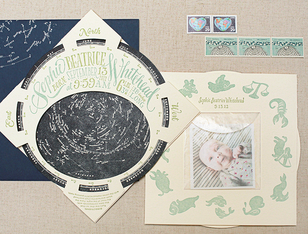OSBP Constellation Starfinder Birth Announcements Ladyfingers Letterpress Best of 2013: Baby Announcements