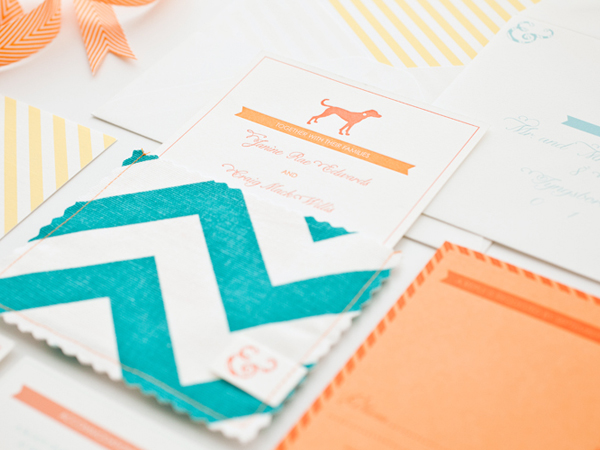 Orange Teal Chevron Stripe Fabric Pocket Wedding Invitation8 Best of 2013: Wedding Invitations