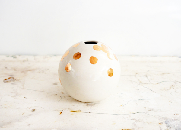 The Object Enthusiast White Gold Polka Dot Vase Quick Pick: The Object Enthusiast