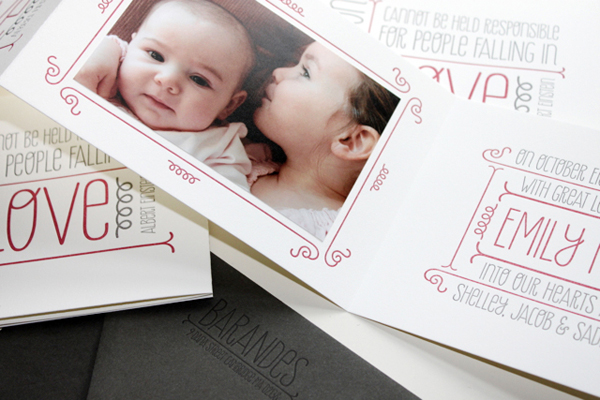 Whimsical Typography Letterpress Baby Announcements Albertine Press Best of 2013: Baby Announcements