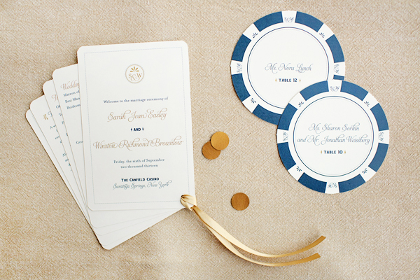 Sarah + Winstons Navy, Gold, and Coral Letterpress Wedding Invitations
