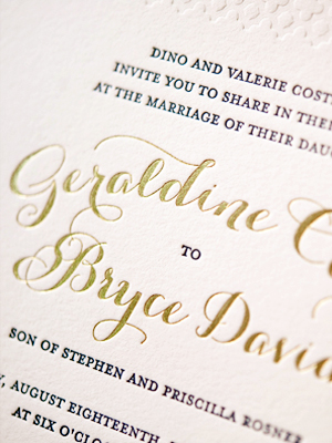 Elegant Gold Foil Wedding Invitations Gus Ruby Letterpress11 Geri + Bryces Elegant Gold Foil Wedding Invitations