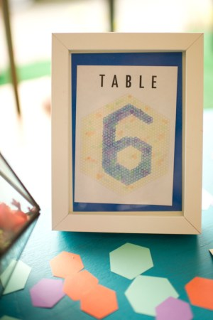 Hexagon Table Number Spindle Photography 300x450 Wedding Stationery Inspiration: Hexagons