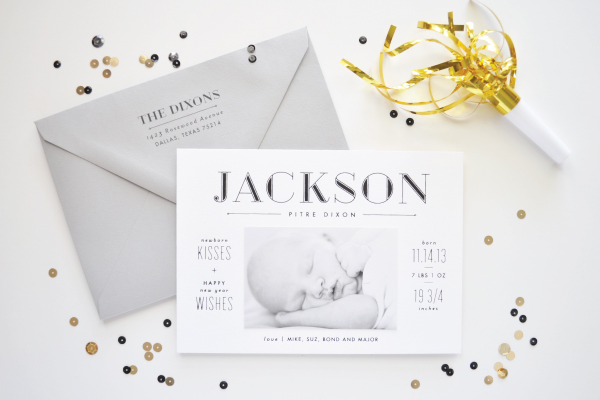 Lauren Chism New Year Birth Announcement Jacksons Sleek Black + White Birth Announcements