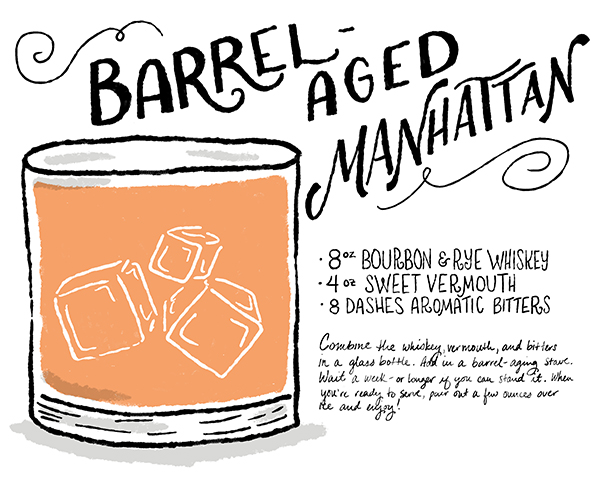 OSBP Signature Cocktail Recipe Card Barrel Aged Manhattan Shauna Lynn Illustration Friday Happy Hour: A Barrel Aged Manhattan
