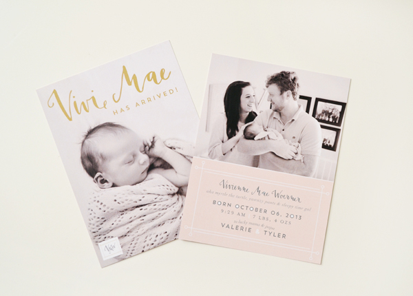 Peach Gold Girl Baby Announcements Val Marie Paper6 Vivi Maes Peach + Gold Birth Announcements