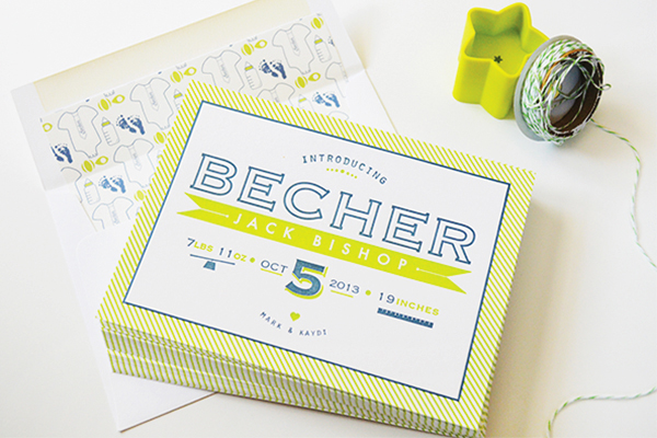 Chartreuse Letterpress Birth Announcement Maison Yellow2 Becks Chartreuse Letterpress Birth Announcements