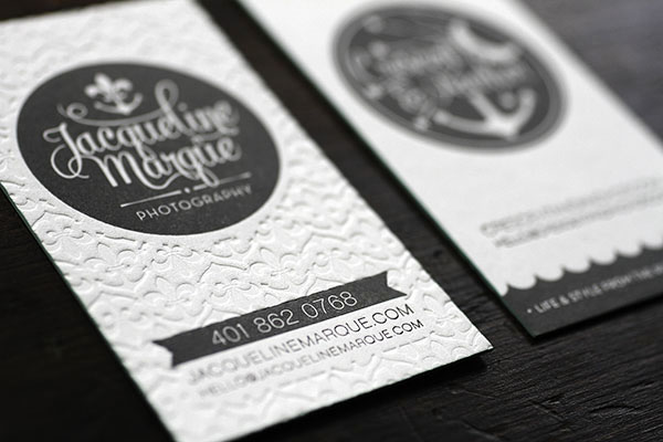 Gray White Edge Painted Letterpress Business Cards6 Crescent & Anchor Letterpress Business Cards